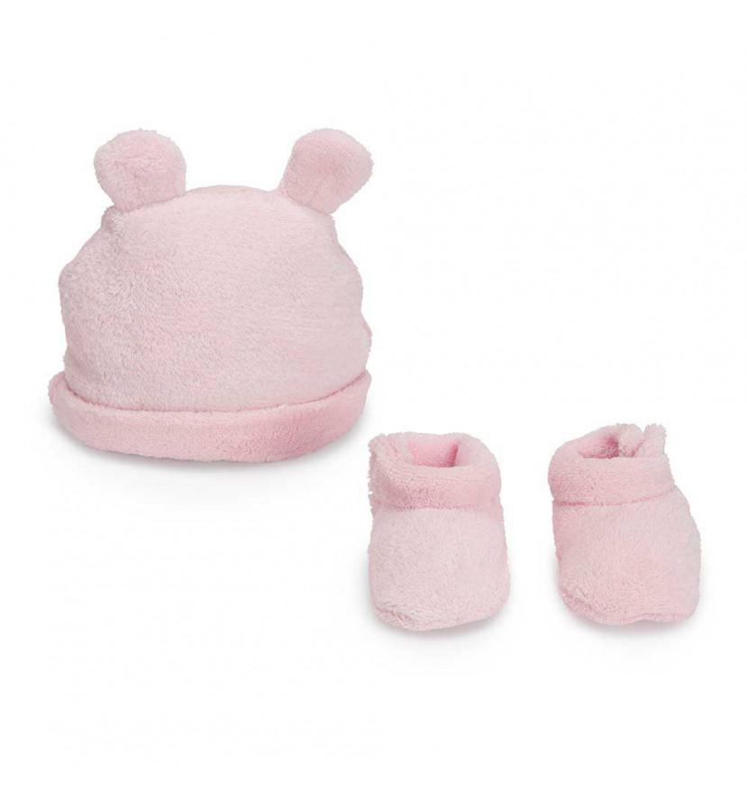 Gorrito y Patucos Bebé Osito Rosa