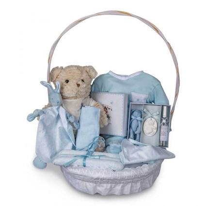 Canastilla Bebé Vintage Plena Azul