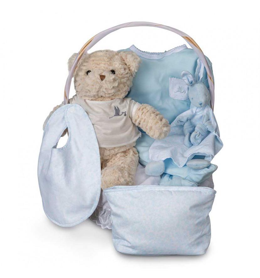 Canastilla Bebé Vintage Esencial Azul
