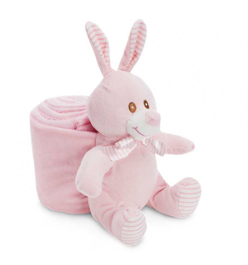 Manta Bebé Conejito Rosa