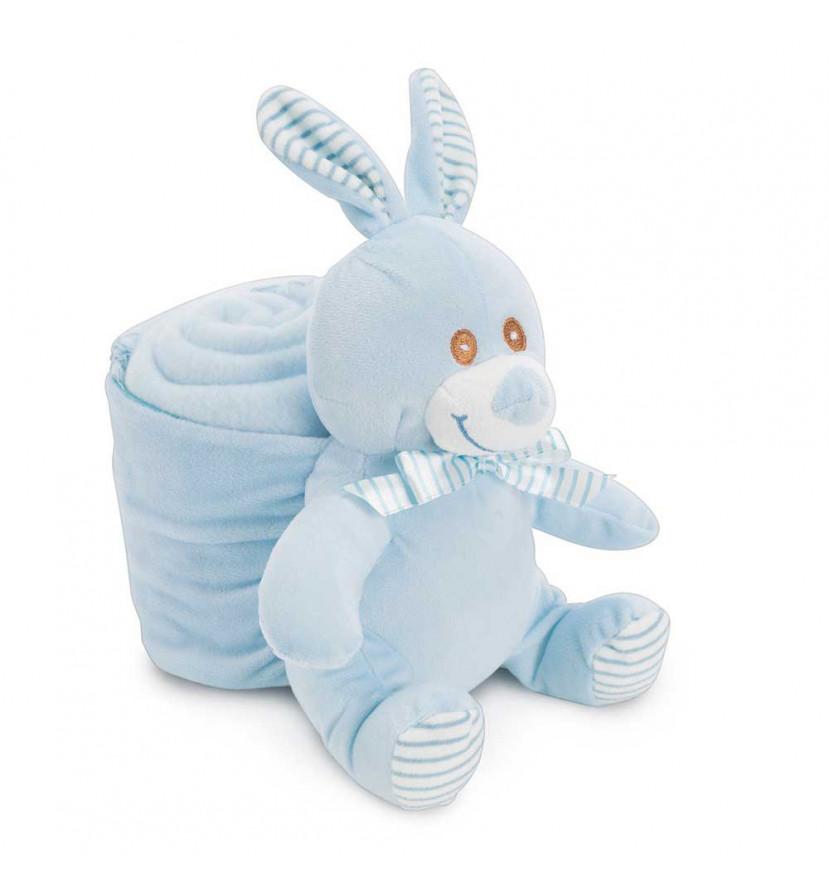 Manta Bebé Conejito Azul