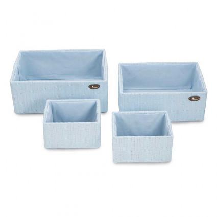 Juego cestas bandeja lana azul