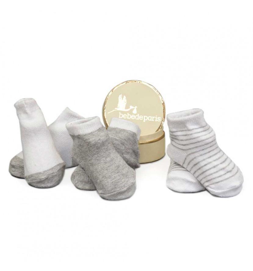 cajita regalo pack calcetines gris