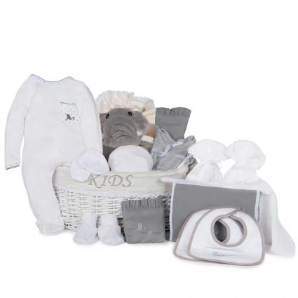 Canastilla bebé post hospital plena gris