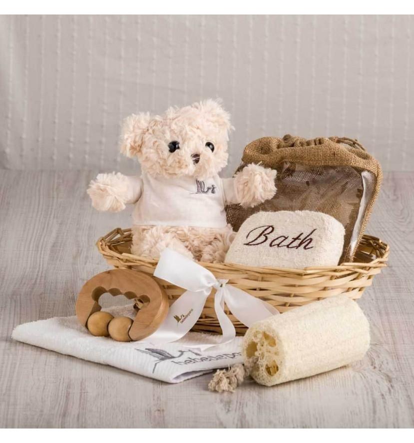 Cesta regalo masaje esencial para mamá y bebé