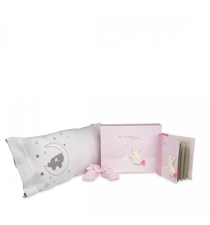 Set regalo cojín elefante rosa