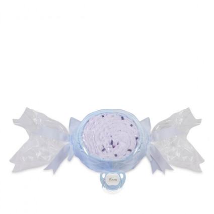 Tarta de pañales caramelo y chupete personalizado azul