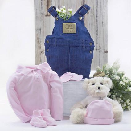Regalo Conjunto de Ropa Bebé Con Oso de Peluche Rosa