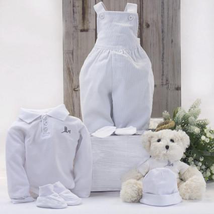 Conjunto Bebé Peto y Polo con Osito de peluche blanco