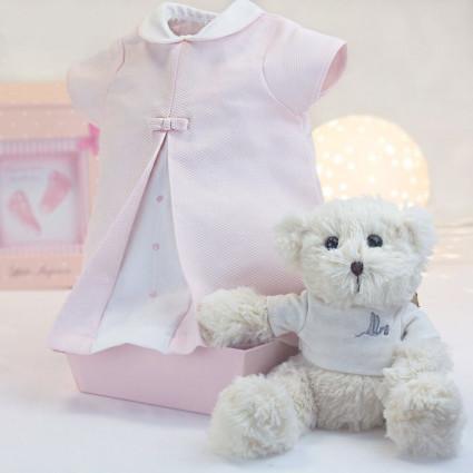 Vestido Bebé  Rosa de 3-6 meses con Osito de Peluche