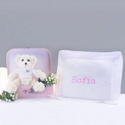 Pack Regalo Recién nacido Manta Personalizada y Osito Peluche rosa