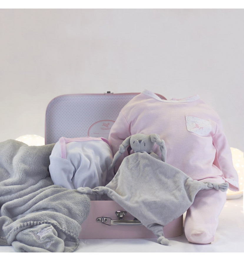 Canastilla Maleta Manta y Pijama para Recién Nacido rosa