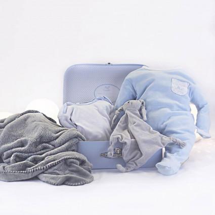 Canastilla Maleta Manta y Pijama para Recién Nacido azul