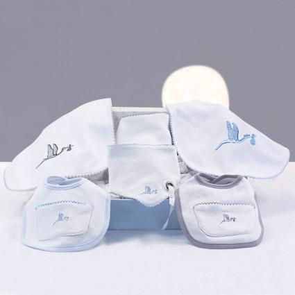 Set Regalo Baberos Bordados con Chupete Personalizado azul