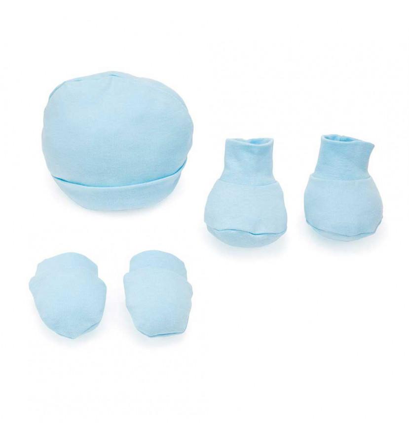 gorro, manoplas y patucos azules